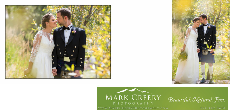Fall bride & groom photo in aspens at Steamboat Springs wedding