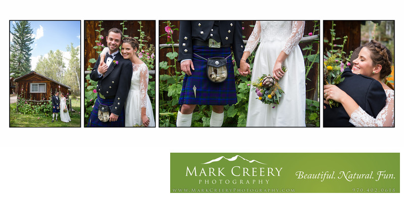 Scottish wedding with kilt at Perry Mansfield in Steamboat