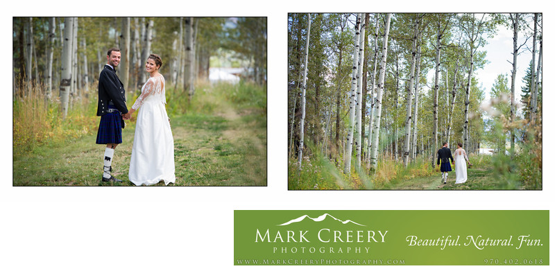 Couple walking in aspens in Steamboat Springs wedding
