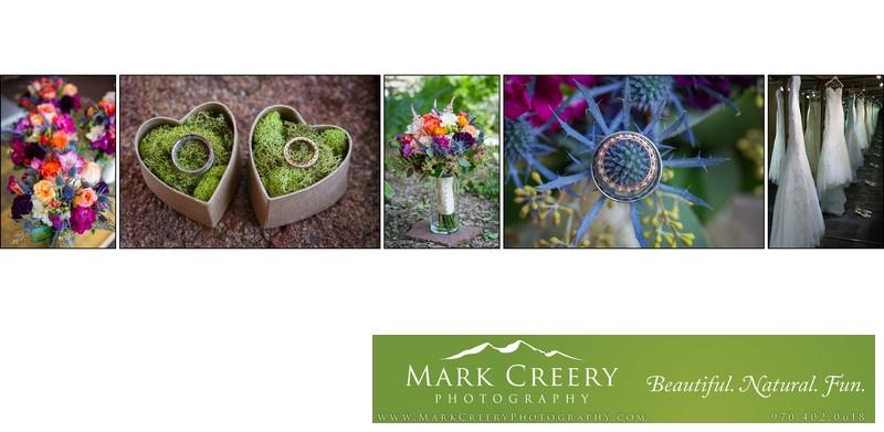 Ring, flower & dress details at Wild Basin Lodge wedding