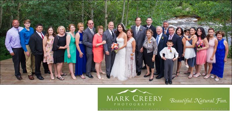 Large family portrait at Wild Basin Lodge wedding