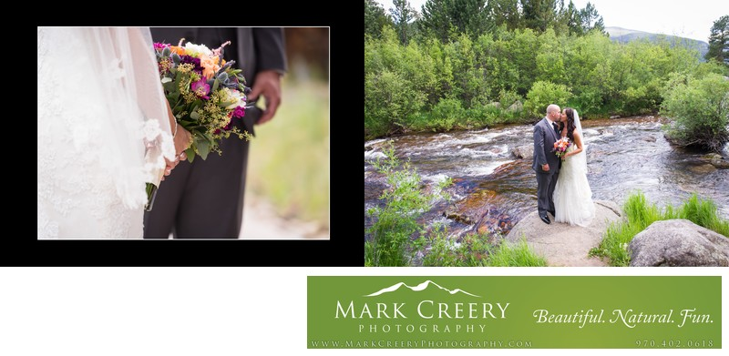 Bride & Groom standing by Saint Vrain Creek at Wild Basin Lodge