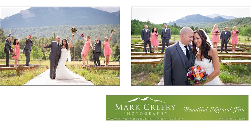 Bridal party at meadow ceremony site Wild Basin Lodge
