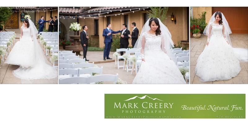 Bride walking in wedding dress Villa Parker