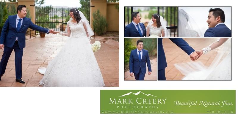 Bride and groom walking holding hands Villa Parker