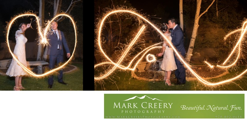 Sparkler heart photo Villa Parker wedding