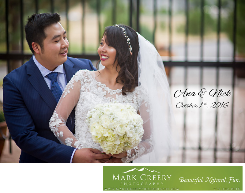 Bride and Groom portrait by gate Villa Parker