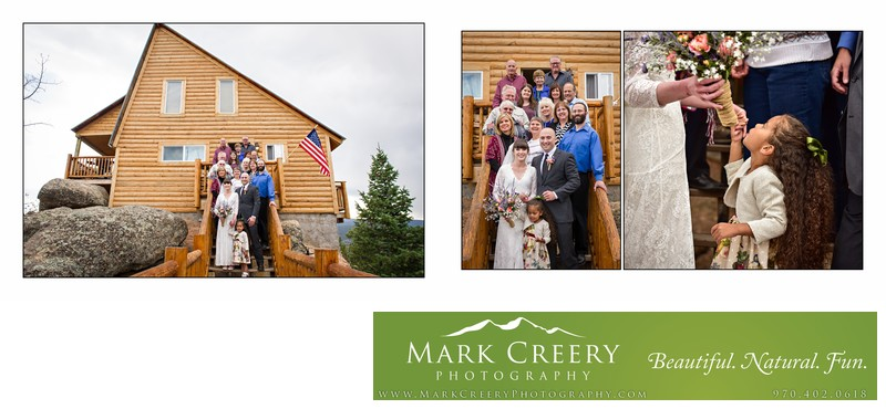 Group photo at private residence wedding in Red Feather Lakes