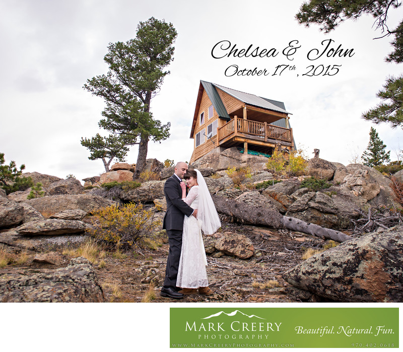 Couple outside home in small Red Feather Lakes wedding