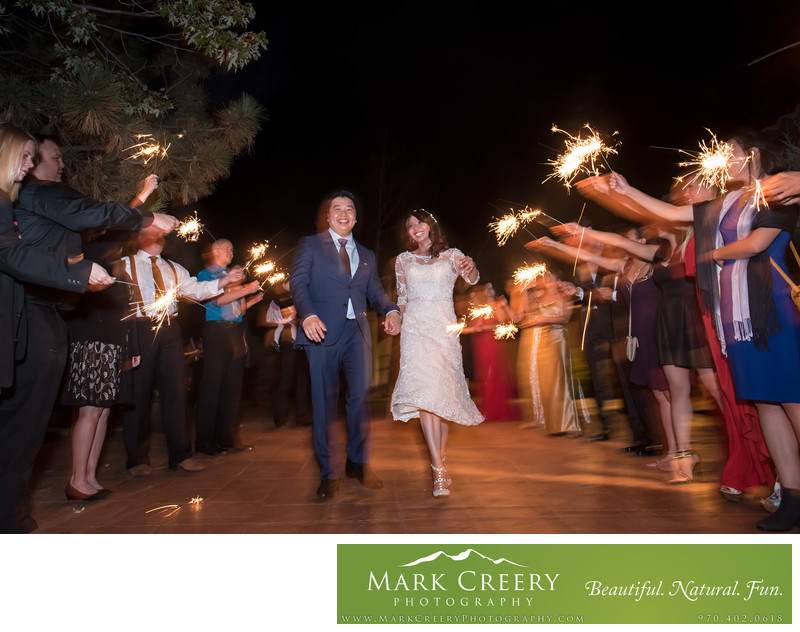 Sparkler exit at Villa Parker wedding reception