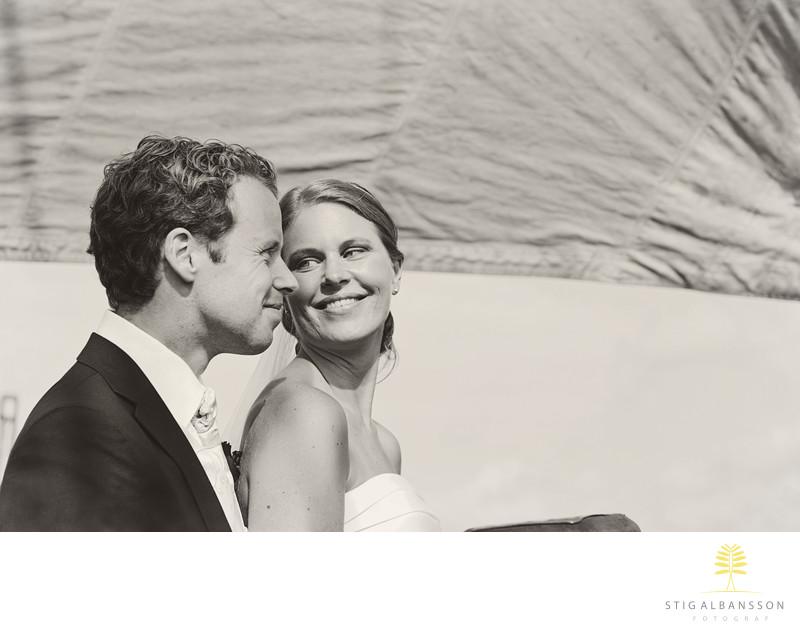 Brudpar som valde att gifta sig ombord på T/S Atlantica