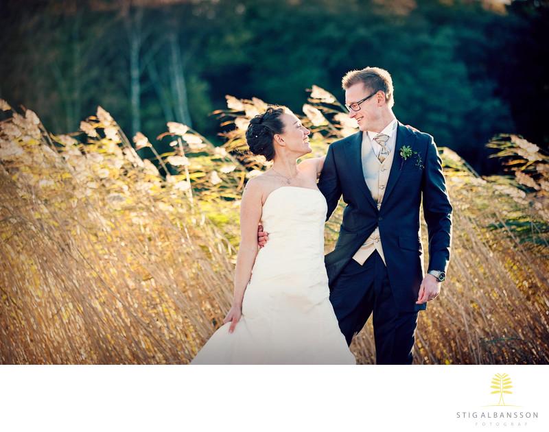 Bröllopsbild höstbild Särö Blomstermåla