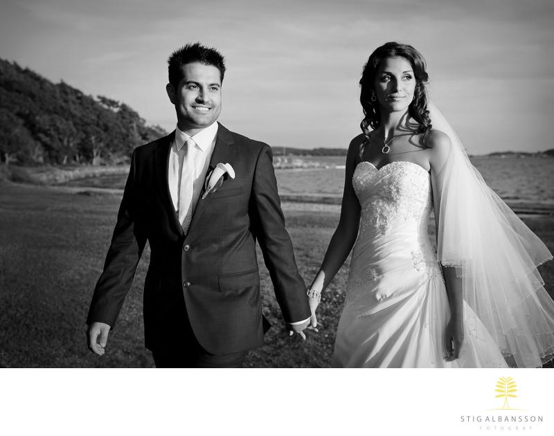 Filmisk bröllopsbild vid havet Tjolöholms slott