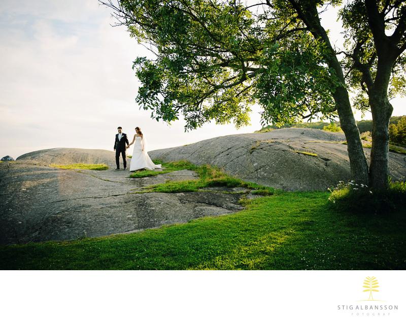 Klippor, träd med brudpar Tjolöholms slott