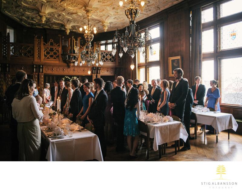 Start av middag vid bröllop på Tjolöholms slott