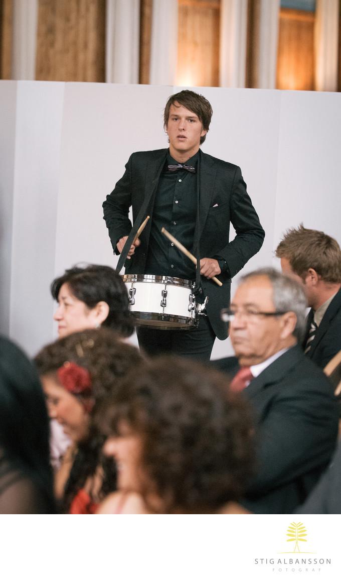 Trumspelare på bröllop i Lekhuset Nääs slott