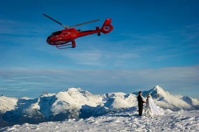 Winter helicopter wedding elopement in Whistler, BC