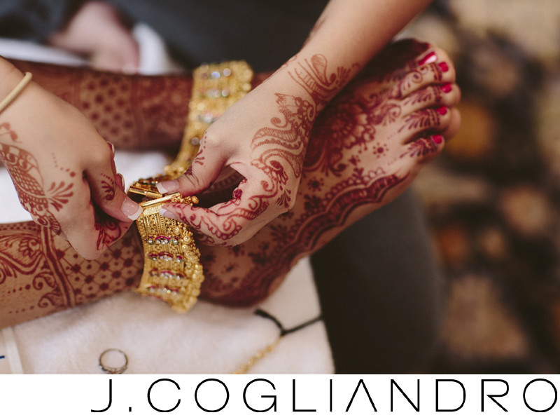 Golden Anklets Indian Bridal Details at Chateau Cocomar