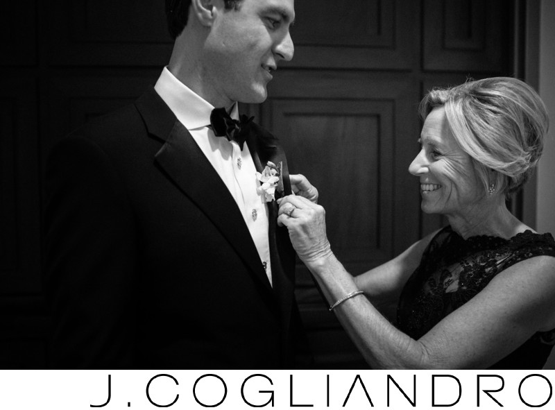 Corsage Pinning in Downtown Houston Wedding Photography