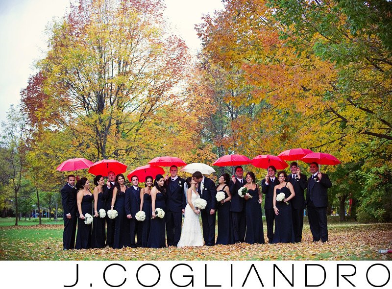 Umbrellas in the Rain Wedding in Niagara Falls, NY