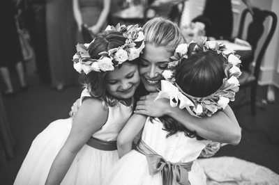 Bride and Flower Girls at St. Michael's Church Houston