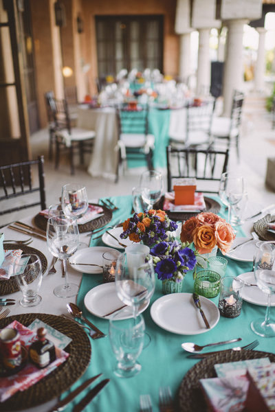 Rehearsal Dinner Plate Settings at Villa Vista Bellena