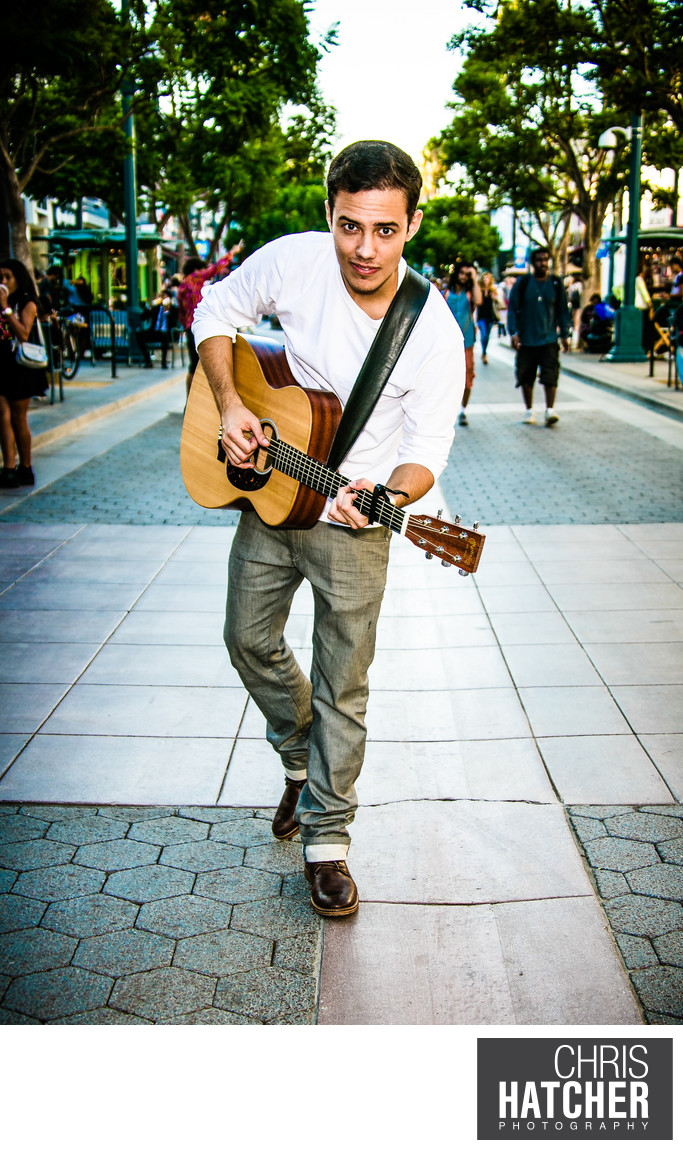 LEROY SANCHEZ PERFORMS AT THE 3RD STREET PROMENADE IN SANTA MONICA, WHILE WEARING GOOGLE GLASS