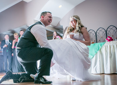 Seattle Wedding Photography Garter moment