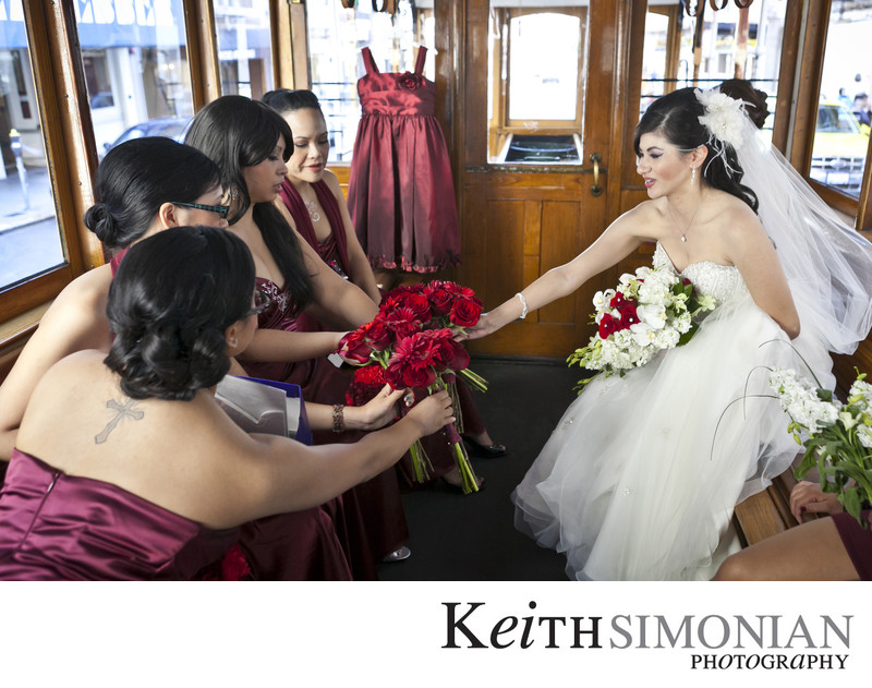 Bridal party on cable car trolley ride