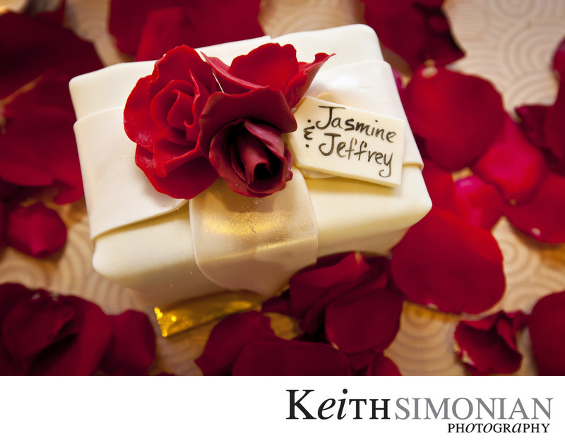 Grooms cake with red rose on top