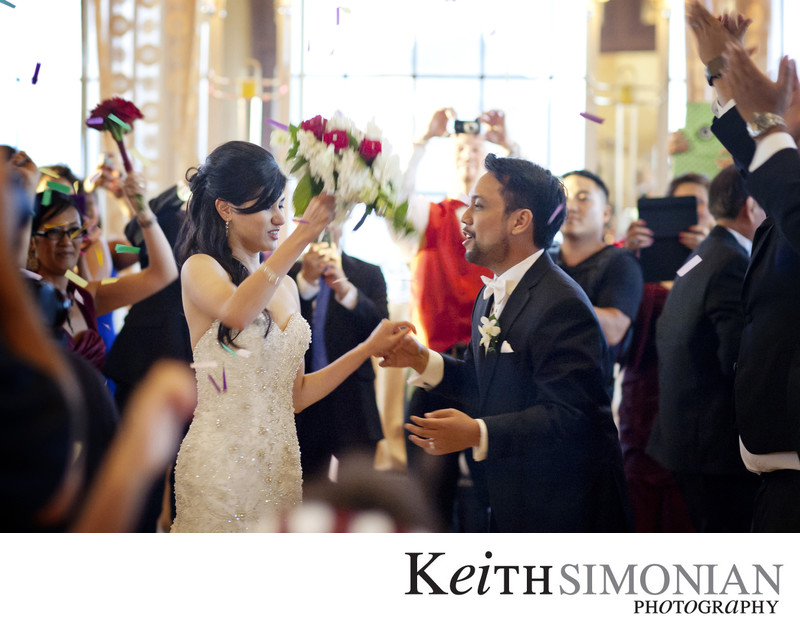 Guests join in with bride and groom for first dance