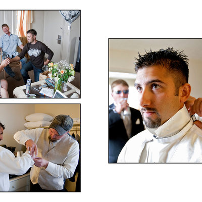 Groom getting ready before wedding ceremony
