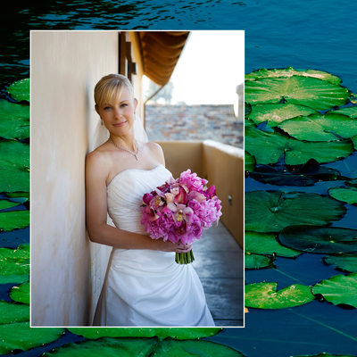 Bridal Portrait with pond full of lilies at backdrop