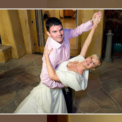 Groom dipping Bride while they Dance Outside