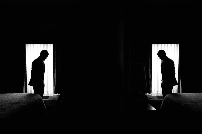 Groom silhouette reflection