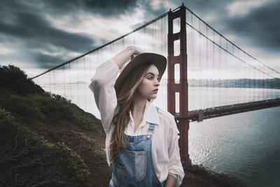 Folksy portrait at Golden Gate Bridge