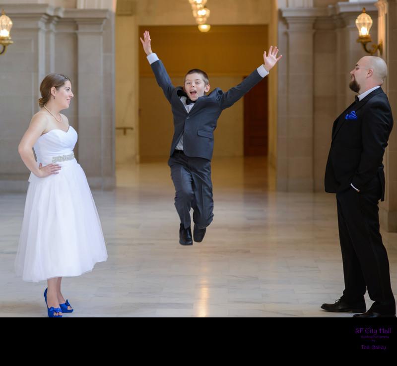 family wedding jump