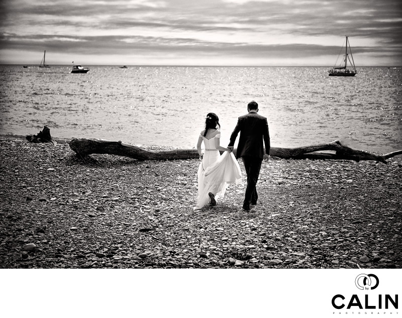 Bride and Groom Walk on Cherry Beach