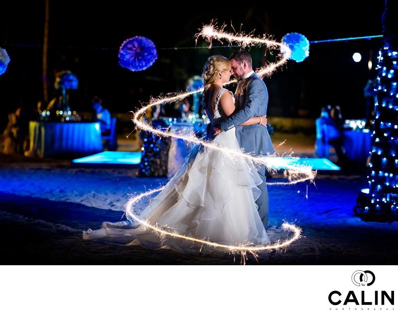Barcelo Maya Palace Deluxe Wedding Portrait & Sparklers