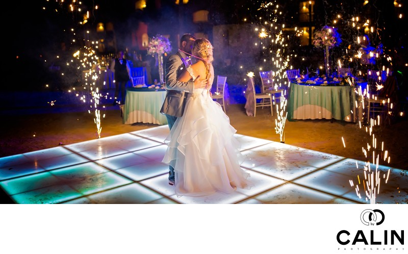 Fireworks at Barcelo Maya Palace Deluxe Wedding
