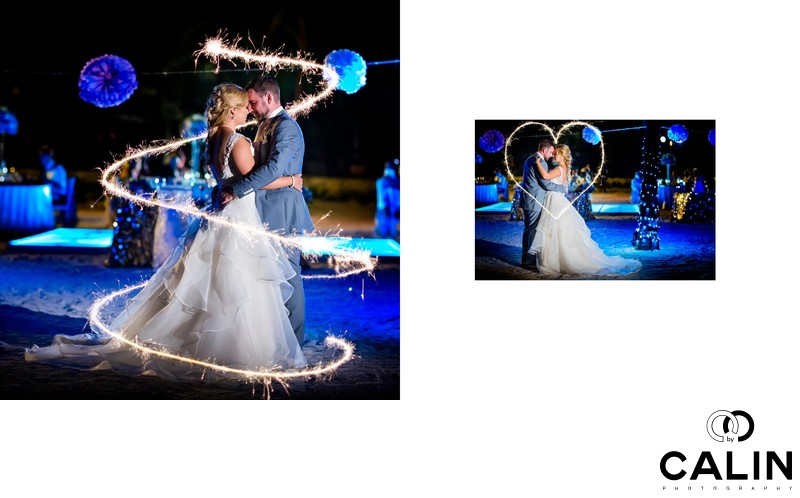 Stunning Sparklers at Barcelo Maya Palace Deluxe Wedding