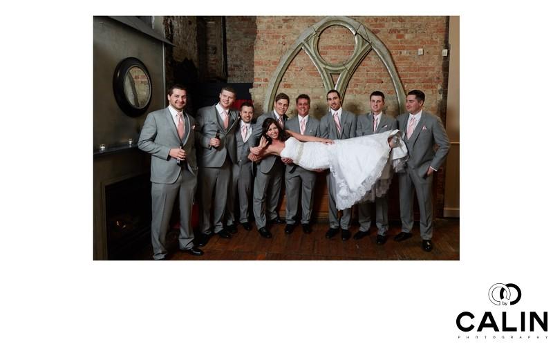 Fun Photo of Bride and Groomsmen at Berkeley Church Wedding
