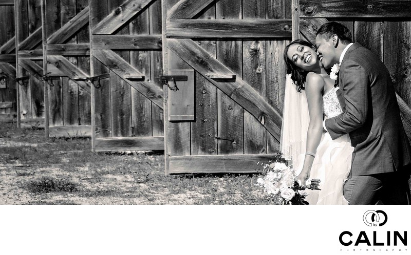 Bride and Groom Portrait at Tractor Barn