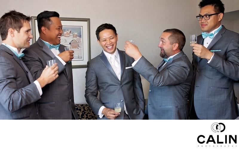 Groomsmen Toasting at Country Heritage Park Wedding