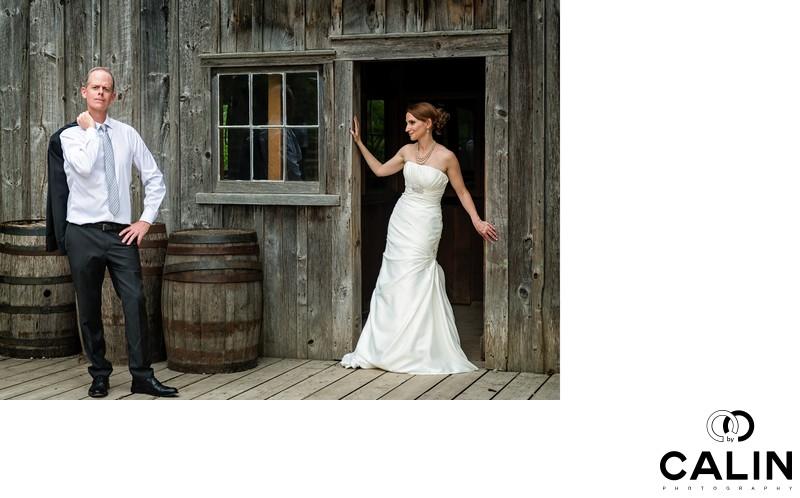 Couple Posing at Black Creek Pioneer Village Wedding