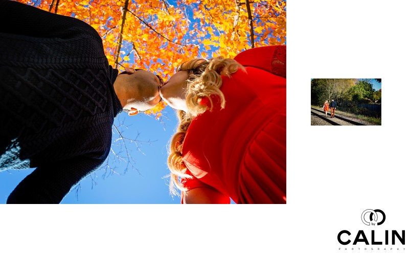 Engagement Photo of Couple under Maple Tree and by Rails