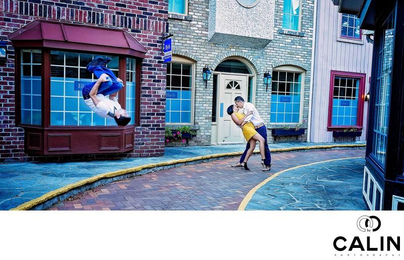 Fun Engagement Photo at Village Square in Burlington
