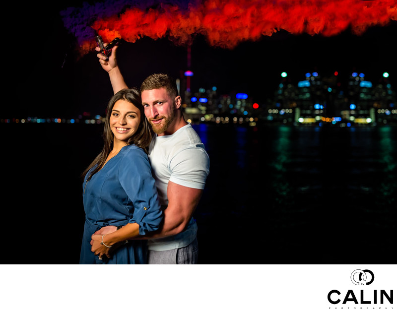 Engagement Photo With Smoke Bombs