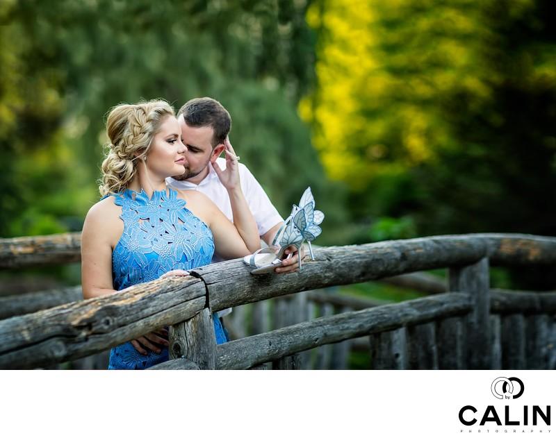 Engagement Photo of Couple on a Bridge