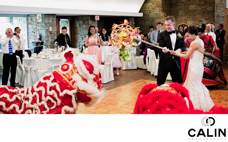 Lion Dance at Toronto Botanical Garden Wedding